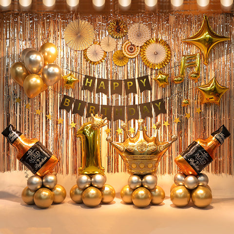 Premium Happy birthday party DIY decoration set in gold