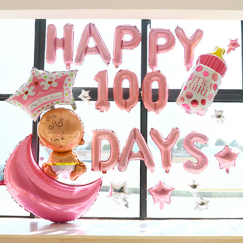 Happy 100 days deco pack for baby girl