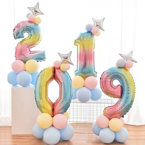 Rainbow Number Balloon Number Column