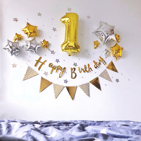 Happy birthday simple decoration set - no helium required