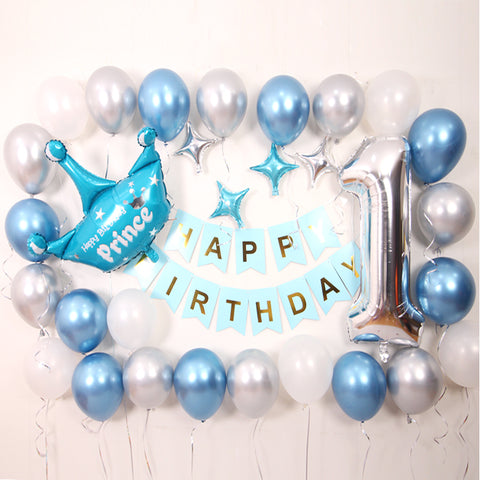 Metallic birthday balloon deco pack (Blue) - no helium required