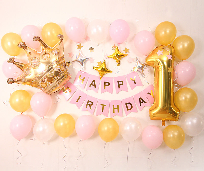 Birthday balloon deco pack (Pink) - no helium required