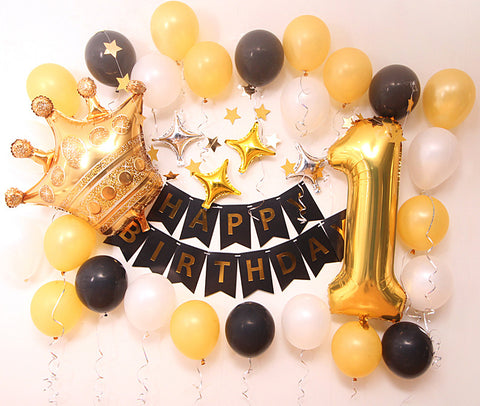 Birthday balloon deco pack (Black Gold) - no helium required