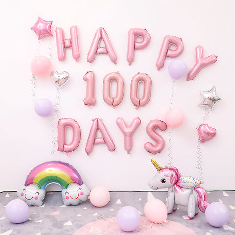 Pink 100 Days Baby Unicorn Décor Pack