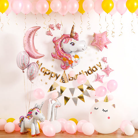 Pink Unicorn balloon decoration pack for birthday party wedding events (5-C)