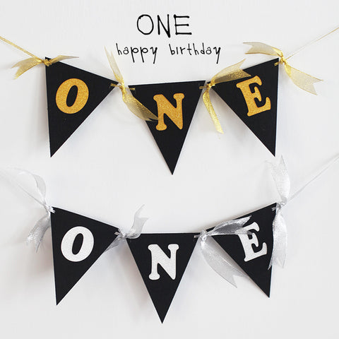 Triangle banner for ONE year old celebration