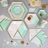 Disposable paper plate - Marble Mint