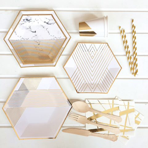Disposable paper plate - Stripe Gold