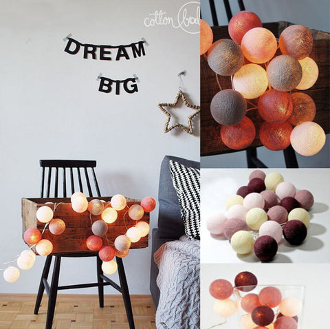 Cotton Ball lights - Maroon