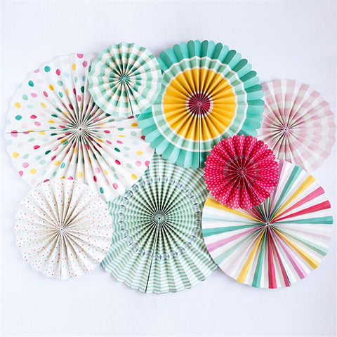 8pcs Party Fan Set for birthday party wedding event decoration
