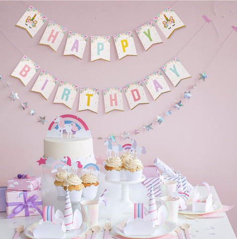 Unicorn Happy Birthday Banner