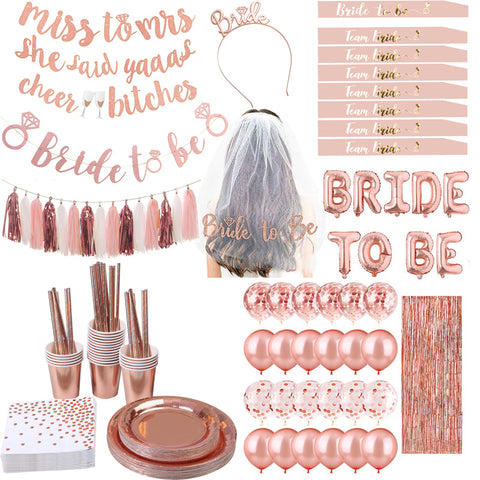 Bridal Shower Hen's Party Essentials in Rose Gold