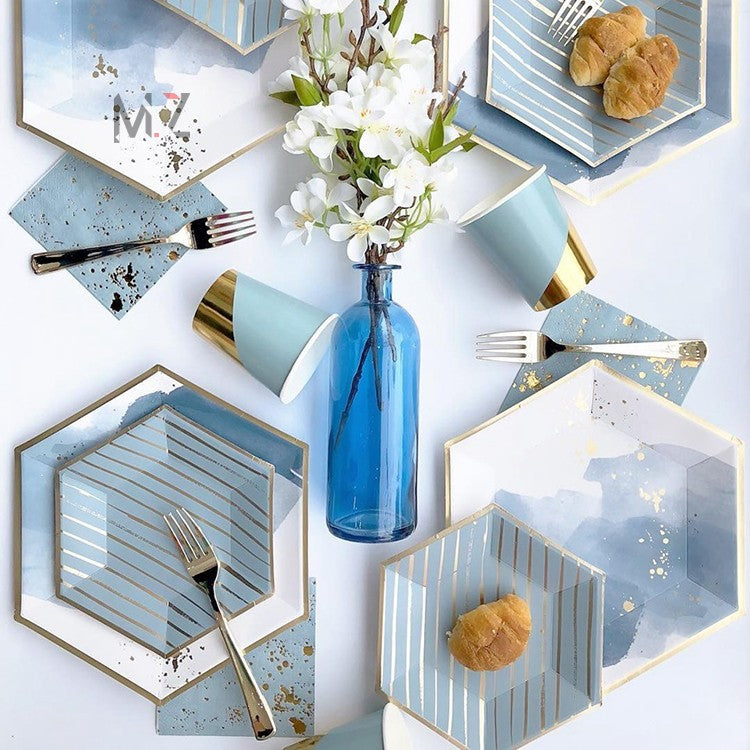Disposable plates, cups, fork & spoons for parties – watercolor blue