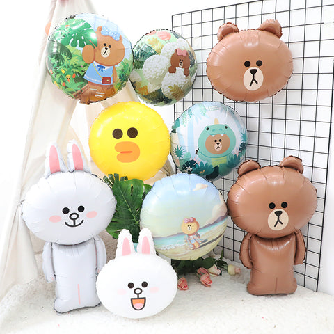 Line Friends Brown Bear Cony Sally Foil Balloon Party Decorations