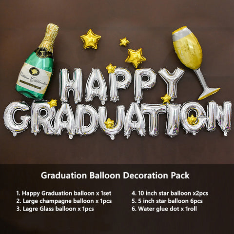 Graduation Champagne Balloon Decoration Pack