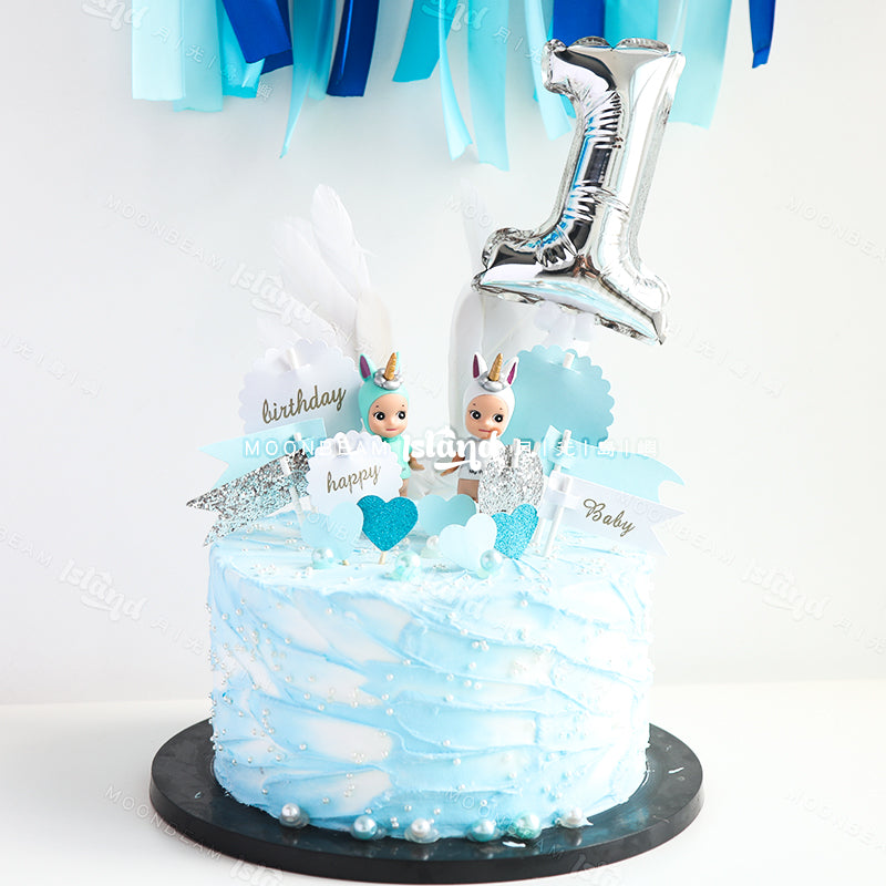 Mini Foil Number Balloon Cake Topper [Self Inflate]