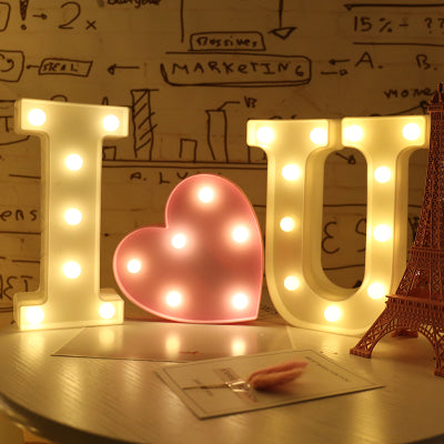 "Remote control ""I heart You"" letter light"