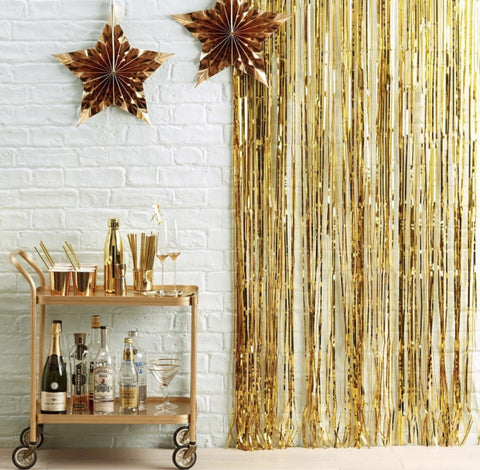 Metallic Fringe Tinsel Curtains Backdrop
