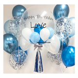 Blue White Bubble Balloon with 2 Sides Balloons
