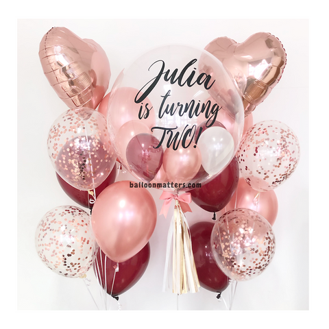 Burgundy Rose Gold Bubble Balloon with 2 Sides Balloons