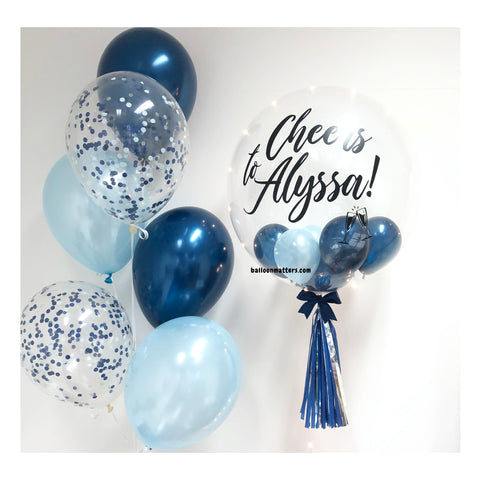 Midnight Blue Bubble Balloon with 2 Sides Balloons