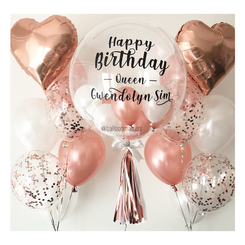 Rose Gold Bubble Balloon with 2 Sides Balloons