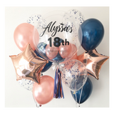 Rose Gold Midnight Blue Bubble Balloon with 2 Sides Balloons
