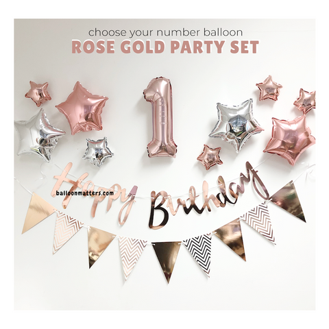 Rose Gold Simple Birthday party decoration set - no helium required
