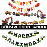 Construction Theme Party Banner Happy Birthday Banner