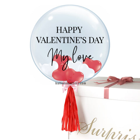 Valentine's Day Helium Balloon Box - Red White Heart