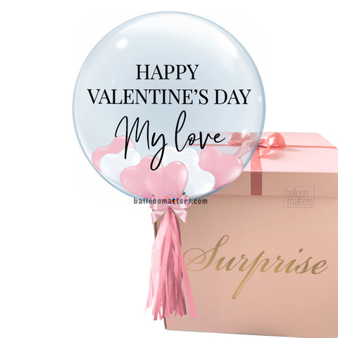 Valentine's Day Helium Balloon Box - Pink White Heart