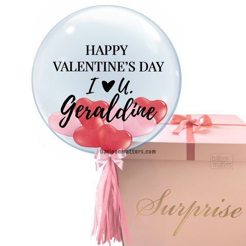 Valentine's Day Helium Balloon Box - Red Pink Heart