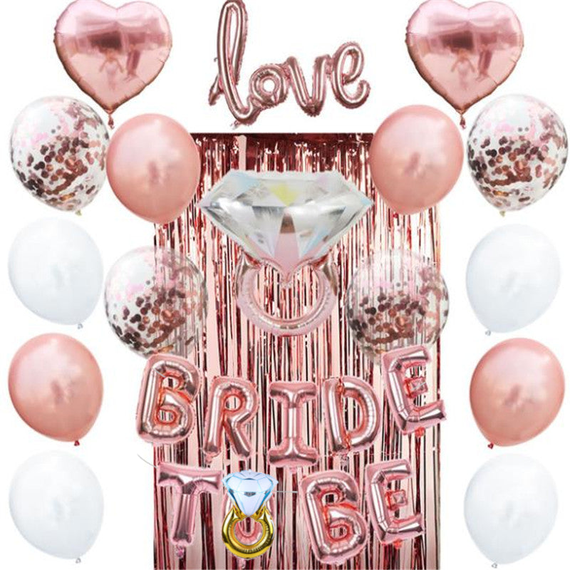 Rose Gold Bride To Be Diamond Ring Tinsel Curtain Décor Pack