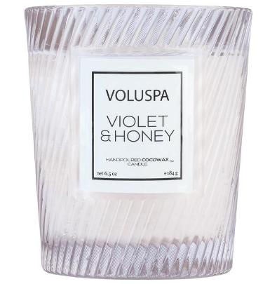 Violet & Honey Textured Glass Candle