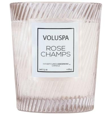 Rose Champs Textured Glass Candle