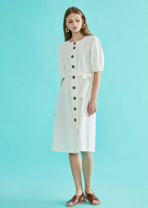 Button Belted Dress