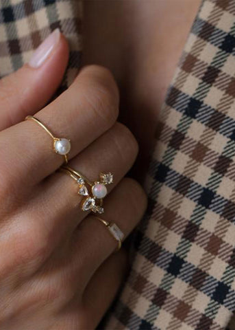 Compass Ring Pearl Gold