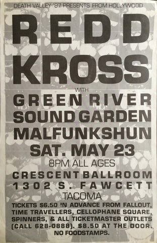 Redd Kross, Green River, Soundgarden, Malfunkshun Concert Poster Flyer. Crescent Ballroom - Seattle, Washington. c. 1987