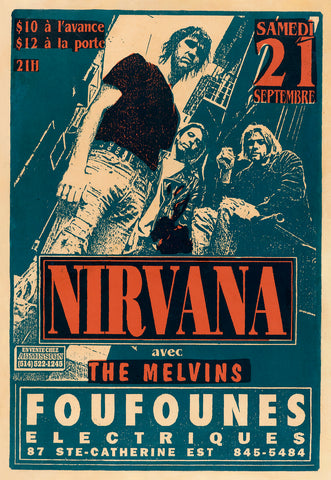 Nirvana, The Melvins Concert Poster Flyer. Foufounes Electiques - Montreal, Canada. c. 1991