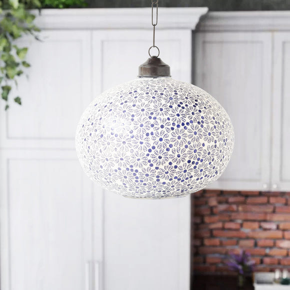 Blue Flower Glass Handmade Pendant Ceiling Lamp