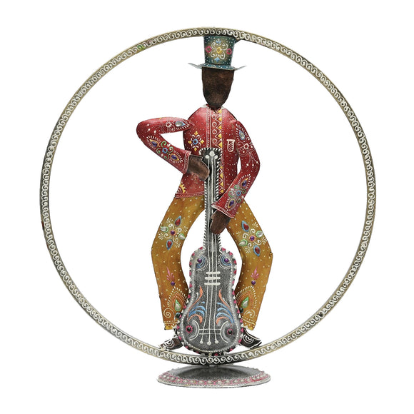 Metal Multicolour Guitar Man Table Decor