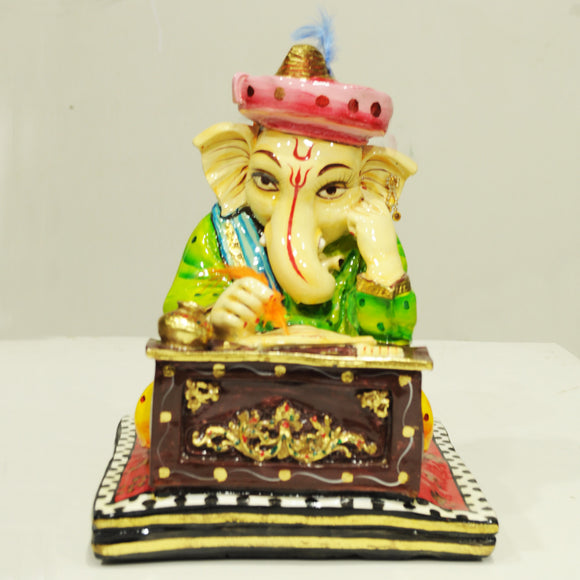Polyresin studying ganesha idol showpiece