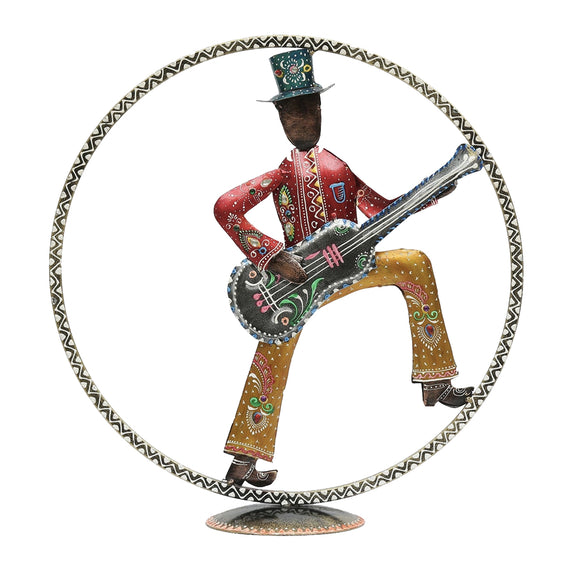 Metal Multicolour Figurine With Guitar Table Decor
