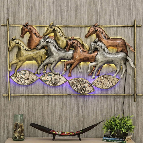 Metal Multicolour Running Horse In Frame With LED Wall Art