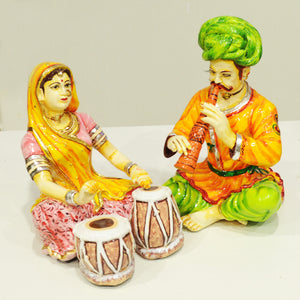 Polyresin rajasthani couples playing music