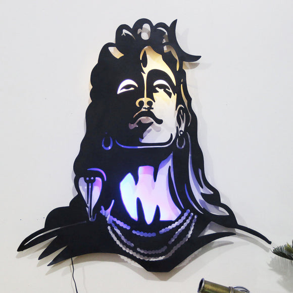 Black Metal Mahadev With Led Wall Art