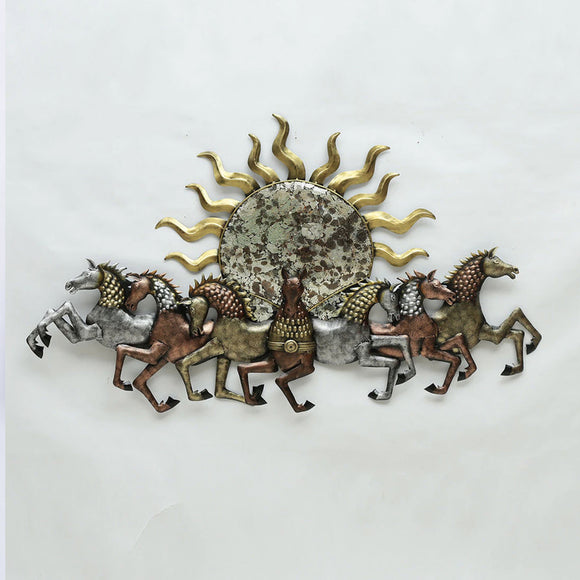 Running Sun Horses With Led Metal Wall Art