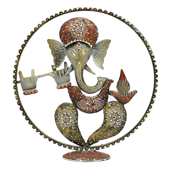 Metal Multicolour Ganeshji Spiritual Table Decor