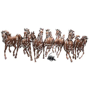 Brown seven running horses LED wall art