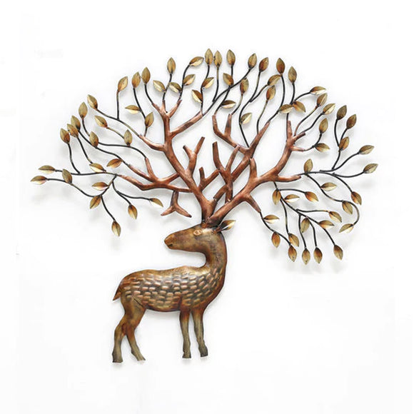 Colourful metal deer LED wall art
